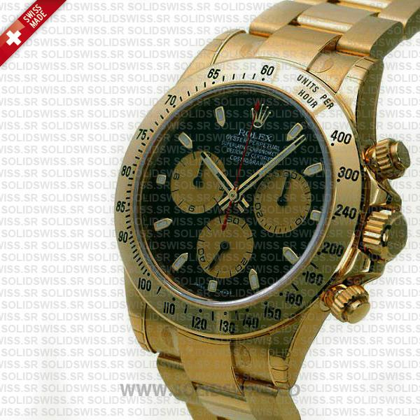 Rolex Daytona Gold Black Dial 40mm Luxury Replica Watch