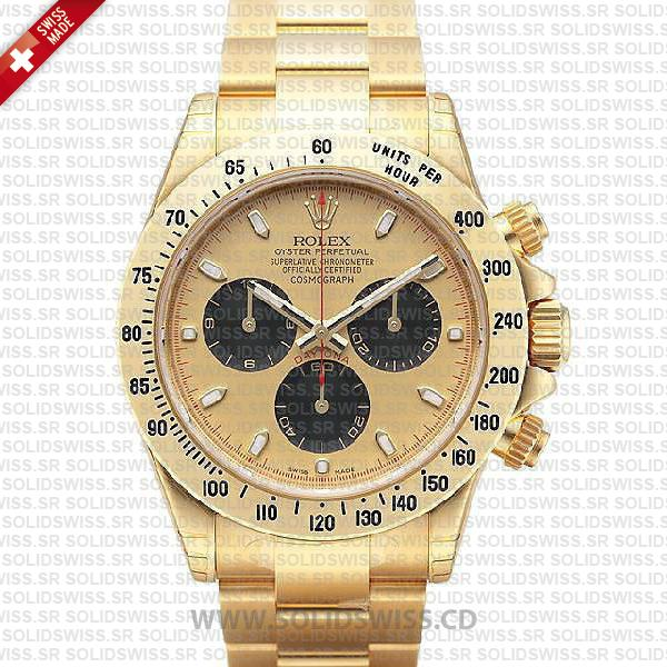 Rolex Daytona 18k Yellow Gold Stainless Steel Gold Dial Replica