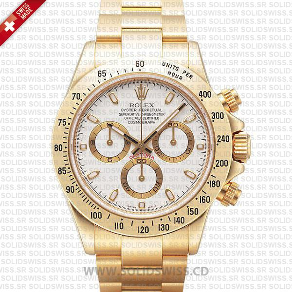 Rolex Daytona 18k Yellow Gold White Dial | Solidswiss Replica