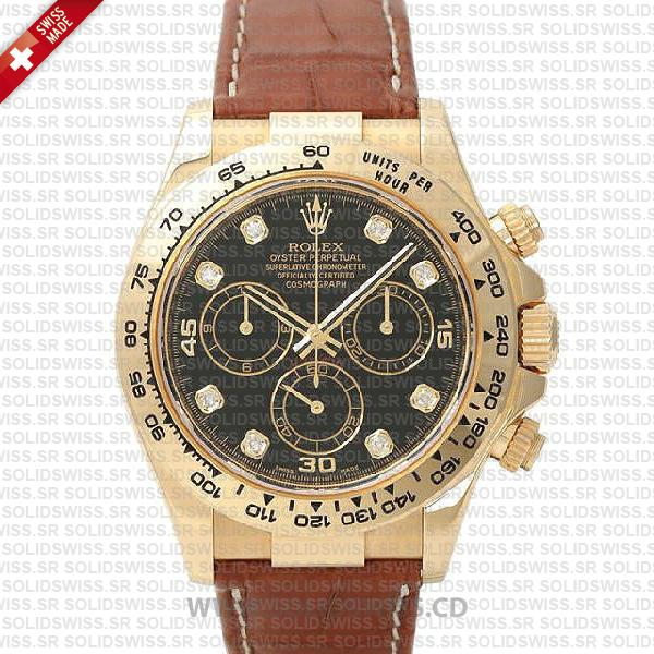 Rolex Daytona Gold Black Diamond Dial Leather Strap Watch