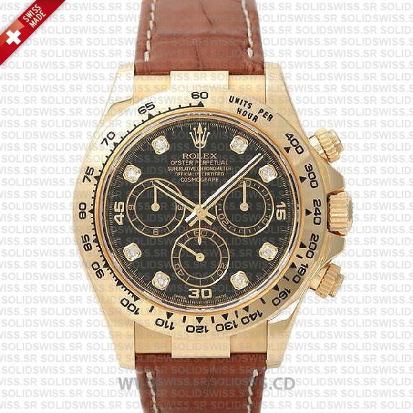 Rolex Daytona Gold Black Diamond Dial Leather Strap Watch