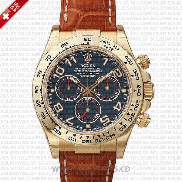Rolex Daytona Leather Gold Blue