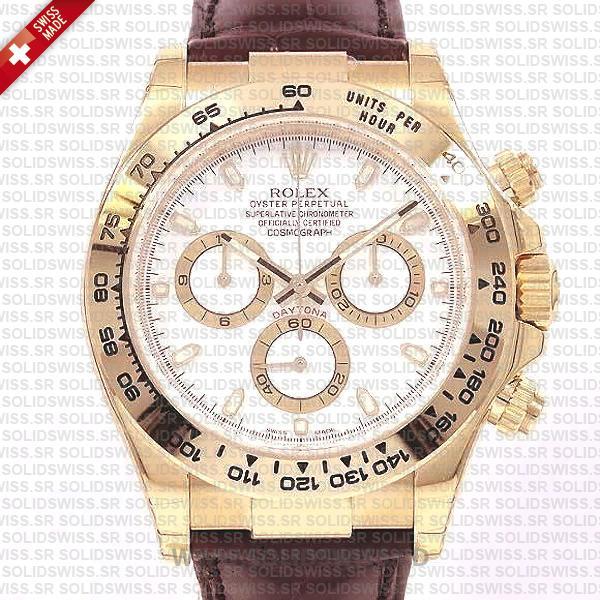 Rolex Daytona Leather Gold White Dial Watch | Swiss Replica
