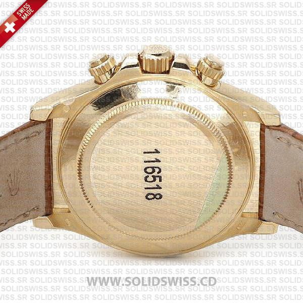 Rolex Daytona Leather Gold White Dial Watch