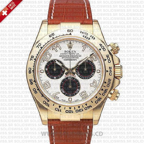 Rolex Daytona Leather Gold White Arabic