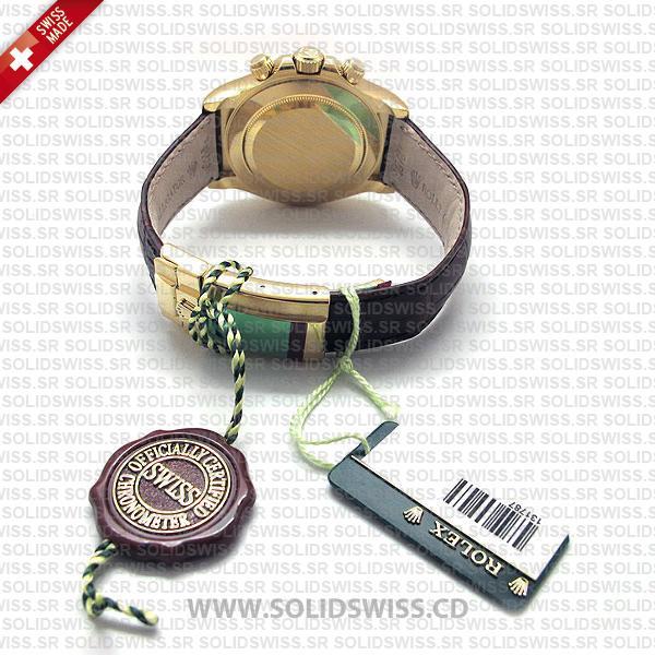 Rolex Daytona Leather Gold White Arabic