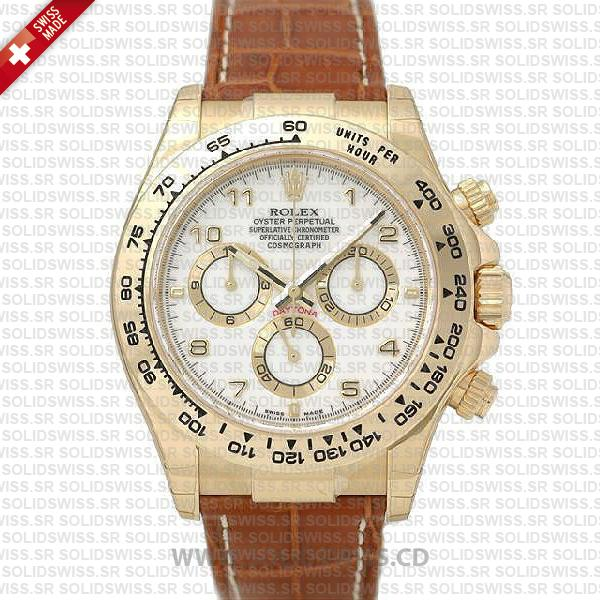 Rolex Daytona Gold Leather Strap White Arabic Dial Replica