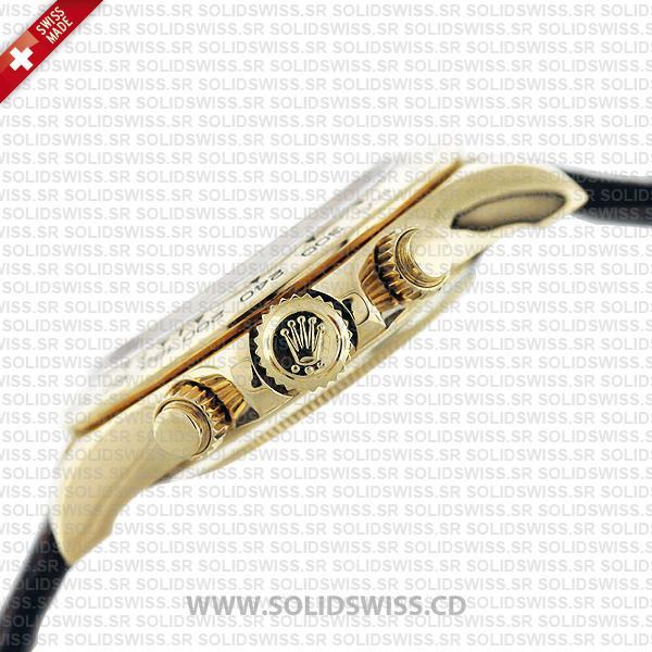 Rolex Daytona Leather Gold White Arabic Gold