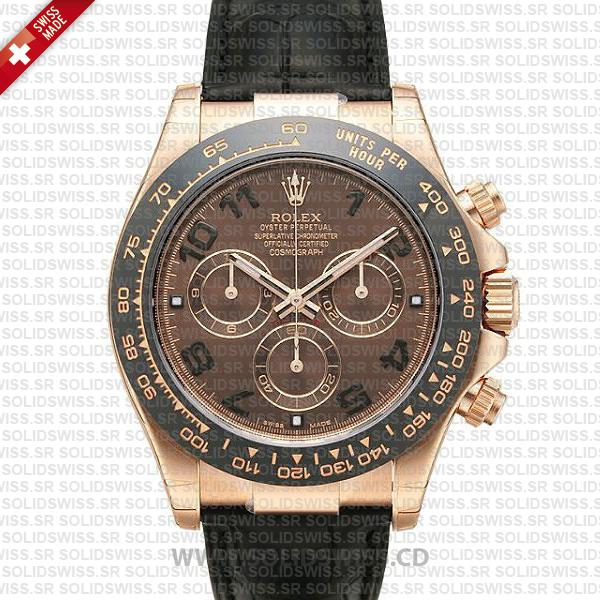 Rolex Daytona Leather Rose Gold Black Ceramic