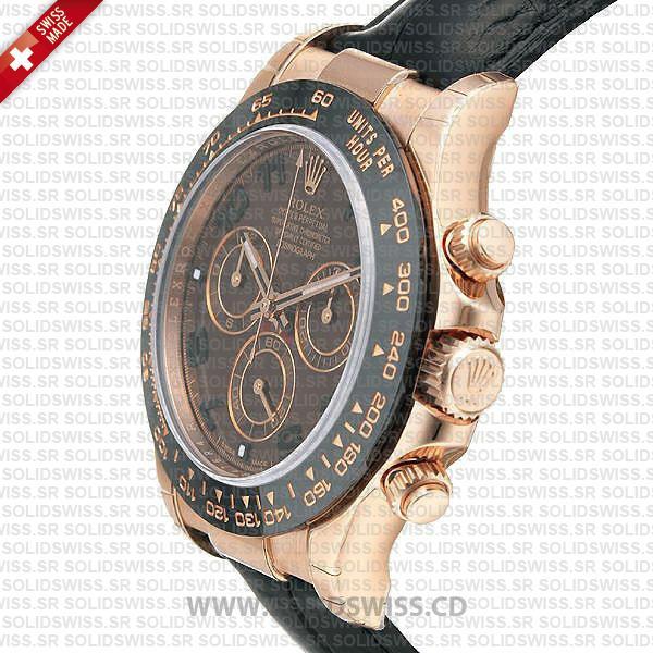 Rolex Daytona Leather Rose Gold Black Ceramic