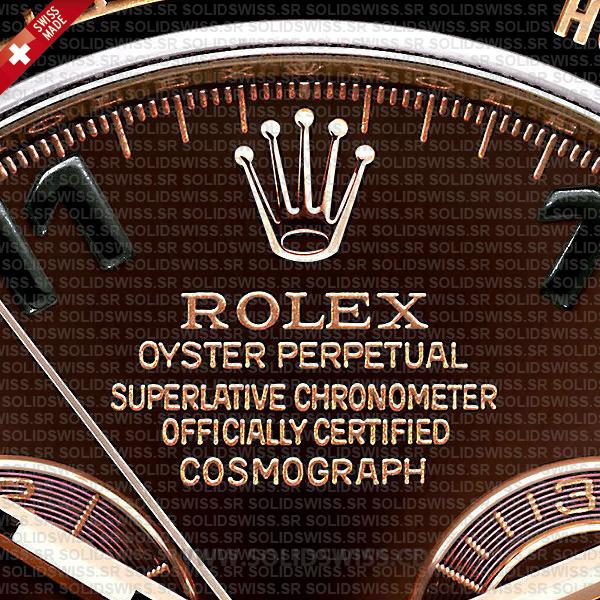 Replica Rolex Cosmograph Daytona 18k Rose Gold Brown Arabic Dial 40mm