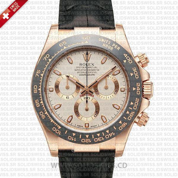 Rolex Daytona Rose Gold Black Ceramic Bezel Replica Watch