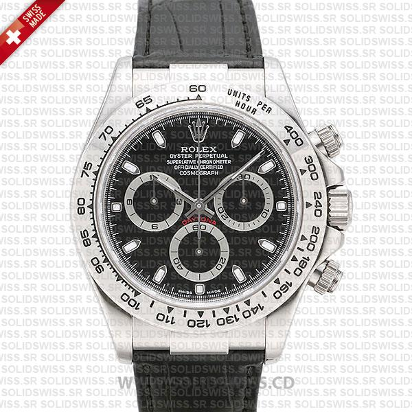 Rolex Daytona Leather SS White Gold Black