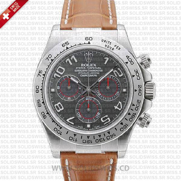 Rolex Daytona Grey Arabic Dial Leather Strap Replica Watch