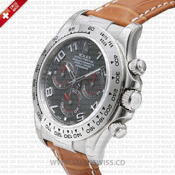 Rolex Daytona Leather SS White Gold Grey Arabic