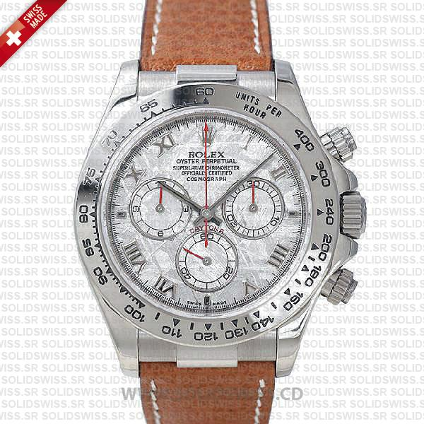 Rolex Daytona Leather SS White Gold Meteorite
