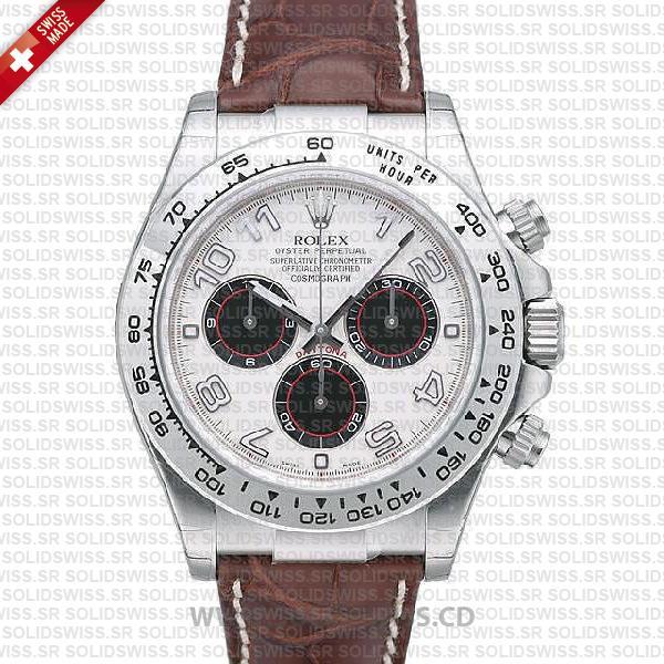 Rolex Daytona Leather Strap White Gold 40mm | Solidswiss