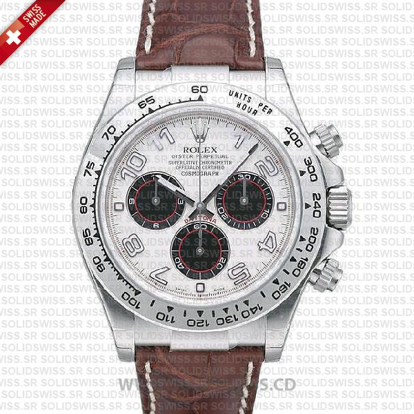 Rolex Daytona Leather SS White Gold White