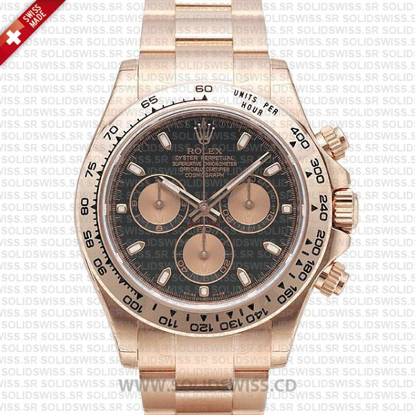 Rolex Daytona Rose Gold Black Dial | Solidswiss Replica Watch