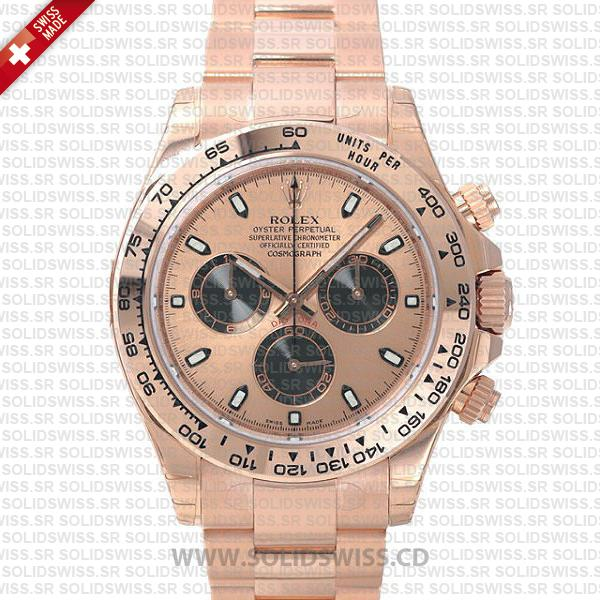 Rolex Daytona 904L Steel Rose Gold Dial | Swiss Replica Watch