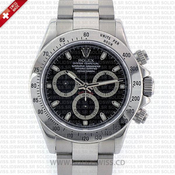 Rolex Daytona 18k White Gold Black Dial | Solidswiss Replica