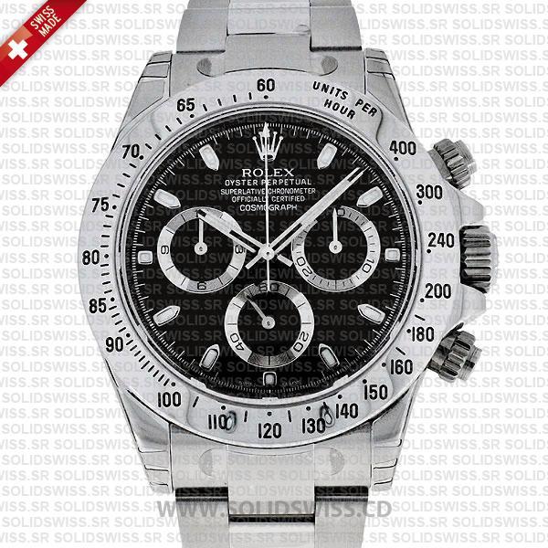 Rolex Daytona 18k White Gold Black Dial Replica Watch