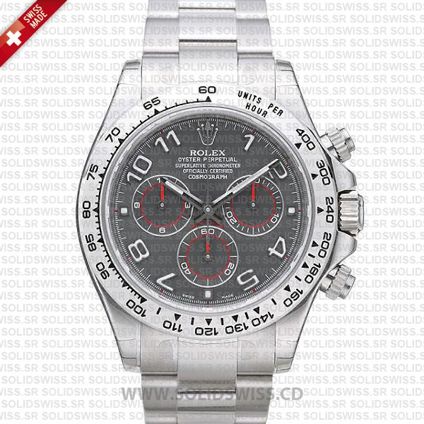 Rolex Daytona 18k White Gold Grey Arabic Dial Replica Watch