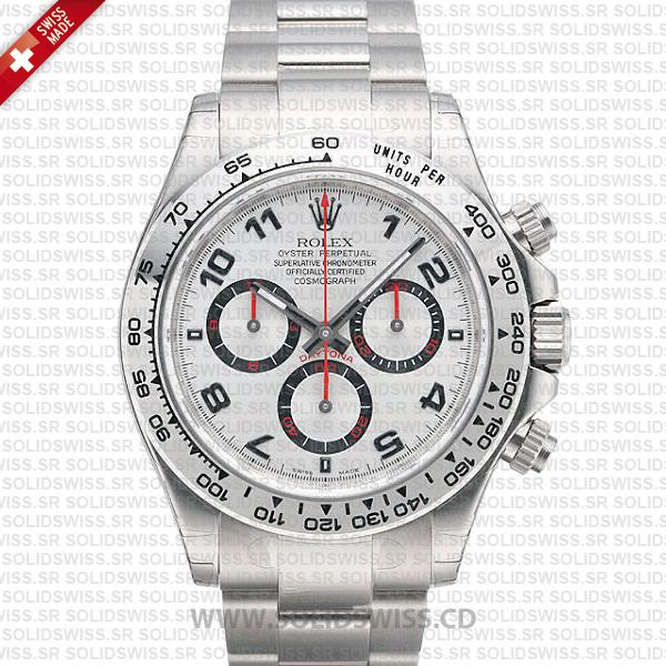 Rolex Daytona SS White Gold White Arabic Red Needles