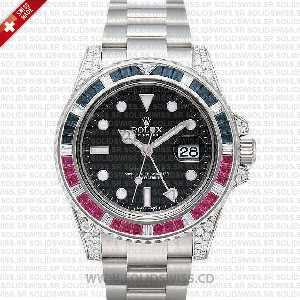 Rolex GMT-Master II Blue Red Ruby | 18k White Gold Watch