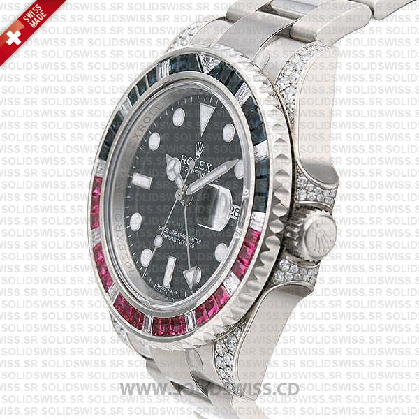 Rolex GMT-Master II 18k White Gold Blue Red Ruby
