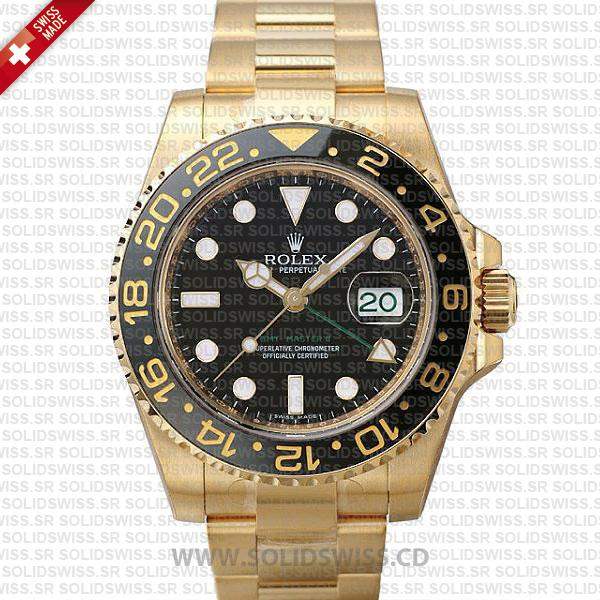 Rolex GMT-Master II Gold Black Dial Replica Watch | Solidswiss