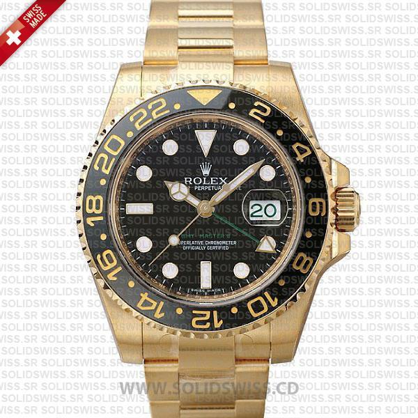 Rolex GMT-Master II Gold Black Dial Replica Watch | Solidswiss