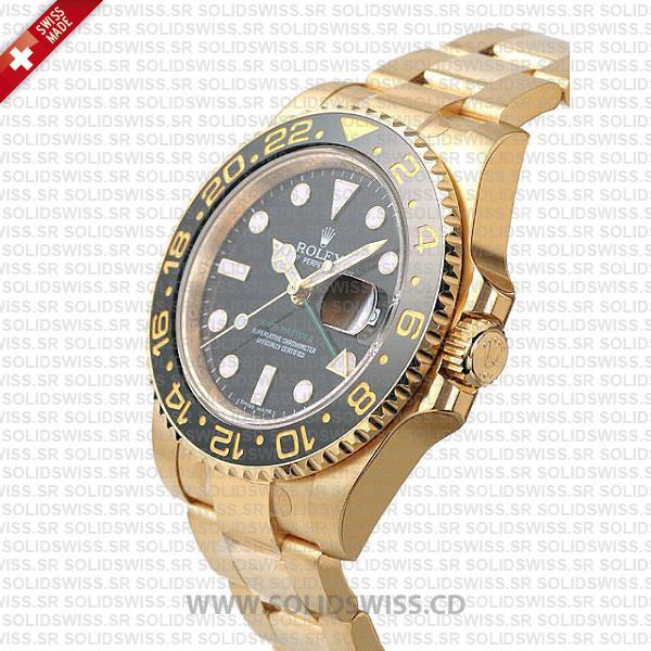 Rolex GMT-Master II Gold Black Dial Replica Watch