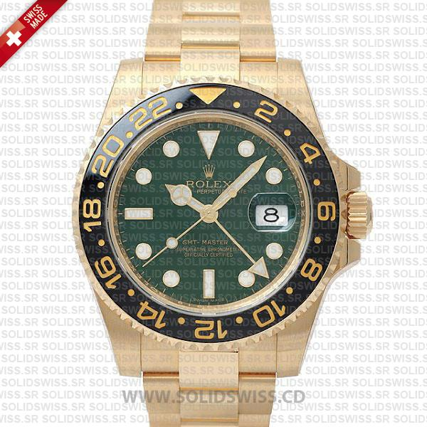 Rolex GMT-Master II Yellow Gold Green Face | Replica Watch