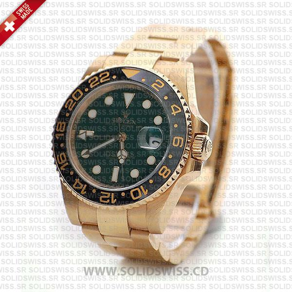Rolex GMT-Master II Yellow Gold Green Face