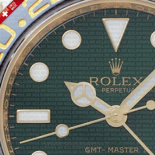 Rolex GMT-Master II Yellow Gold Green Face Watch