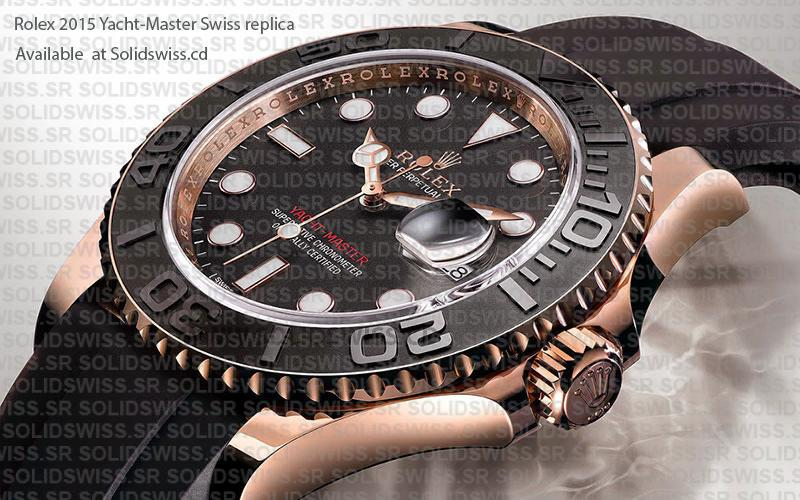 Rolex Yacht-Master Rose Gold Black Dial Swiss Replica Guide
