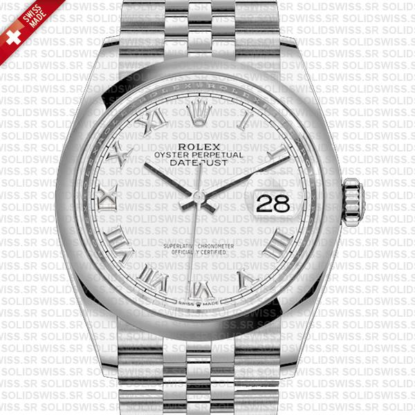 Rolex Datejust 36mm White Dial Roman Markers 126200 Swiss Made Replica Watch Special Offer Without Box Set