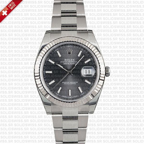Rolex Datejust 41 Oyster Dark Rhodium Grey Dial Stick Markers 904l Steel 18k White Gold Fluted Bezel 41mm Swiss Replica Watch