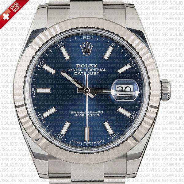 Rolex Datejust 41 Oyster Blue Dial Stick Markers 904l Steel 18k White Gold Fluted Bezel 41mm Swiss Replica Watch