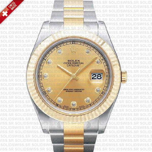 Rolex Datejust Ii Oyster 2-tone 18k Yellow Gold/904l Steel Fluted Bezel Gold Dial Diamond Markers 41mm Swiss Replica Watch