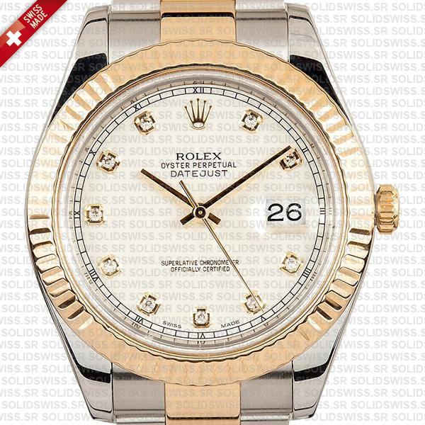 Rolex Datejust ΙΙ Oyster 2-tone 18k Yellow Gold/904l Steel Fluted Bezel Ivory White Dial Diamond Markers 41mm Swiss Replica Watch