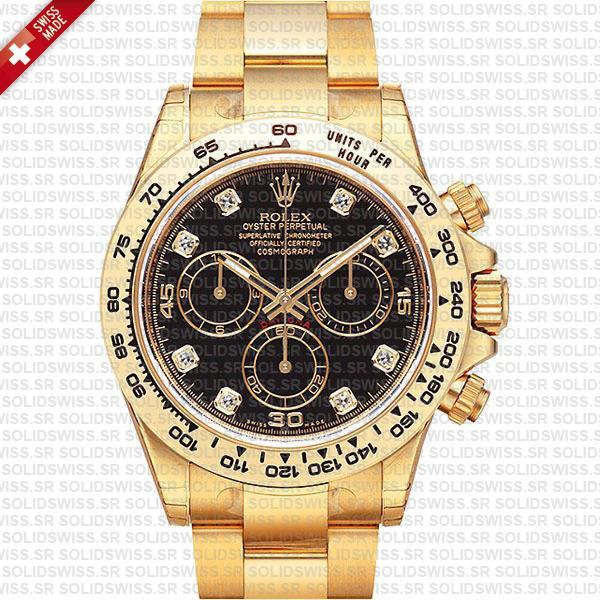 Rolex Daytona 18k Yellow Gold Black Diamond Dial Watch