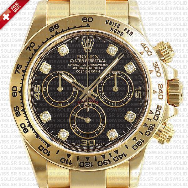 Rolex Daytona 18k Yellow Gold Black Diamond Dial Replica Watch