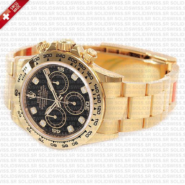 Rolex Oyster Perpetual Cosmograph Daytona 18k Yellow Gold Black Diamond Dial