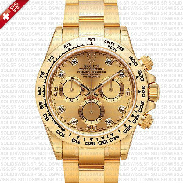 Rolex Daytona 18k Yellow Gold Replica | Diamond Gold Dial