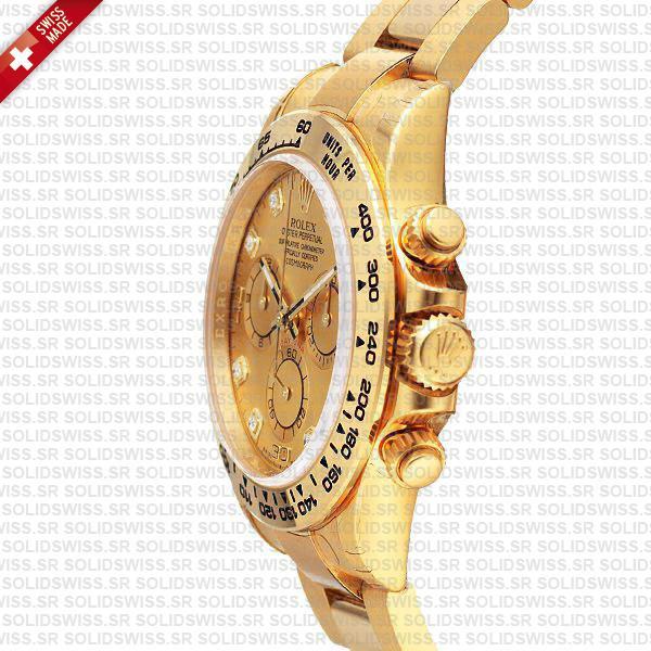 Rolex Daytona 18k Yellow Gold Replica Diamond Gold Dial
