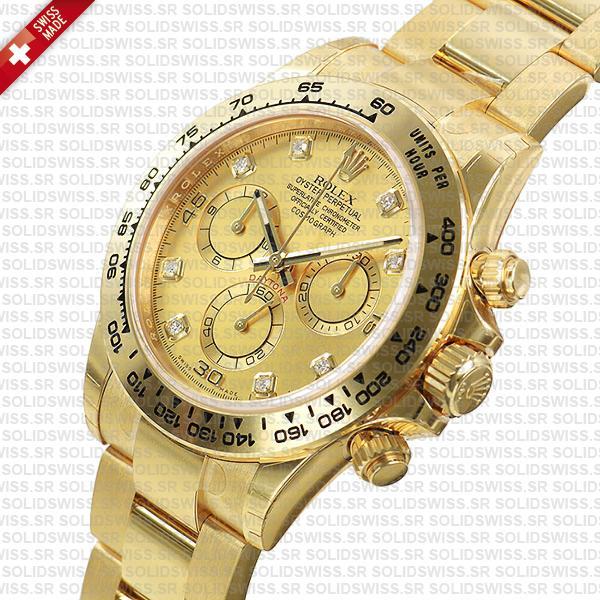 Rolex Cosmograph Daytona 18k Yellow Gold Diamond Gold Dial 40mm Watch