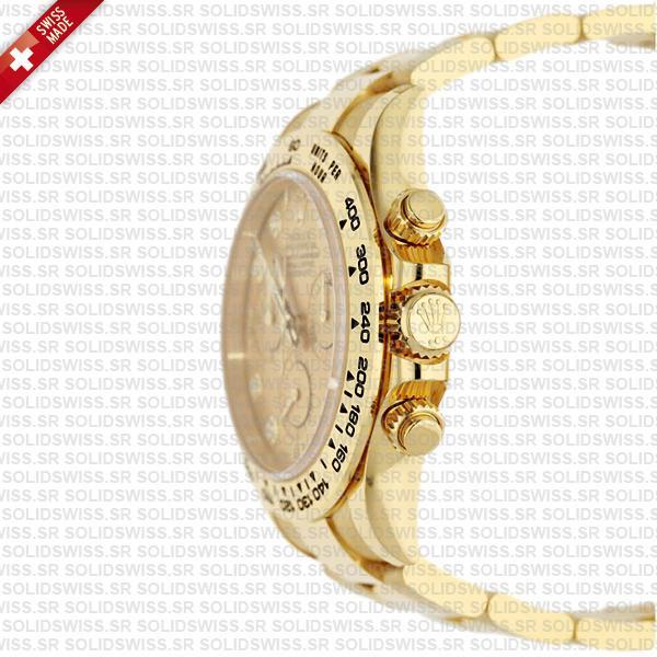 Rolex Cosmograph Daytona 18k Yellow Gold Diamond Gold Dial 40mm Replica Watch