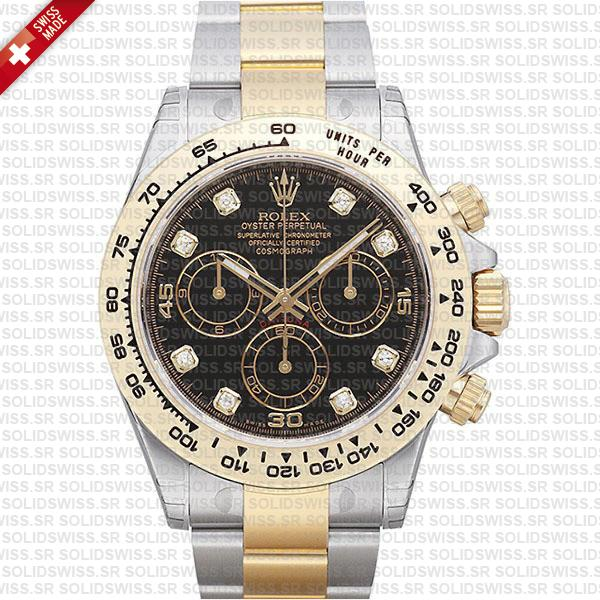 Rolex Daytona Two-Tone Black Diamond Dial | Replica Watch